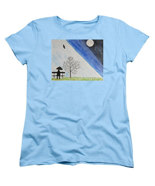 Women's T-Shirt (Standard Cut) featuring the painting Girl With A Umbrella by Sonali Gangane