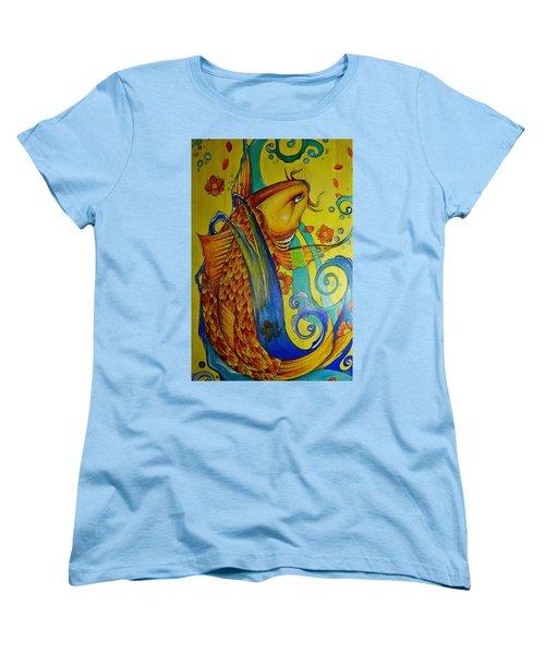 Women's T-Shirt (Standard Cut) featuring the painting Golden Koi by Sandro Ramani