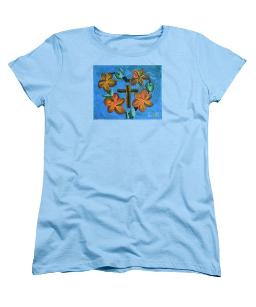Women's T-Shirt (Standard Cut) featuring the painting His Love For Us by Donna Brown