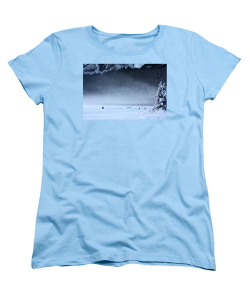 Women's T-Shirt (Standard Cut) featuring the photograph Hockey On Lake Louise by Alyce Taylor
