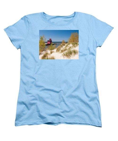 Women's T-Shirt (Standard Cut) featuring the photograph Holland Mi Lighthouse by Larry Carr