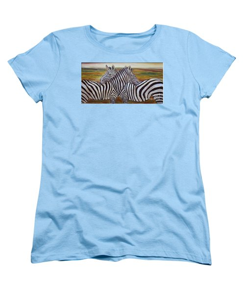 Women's T-Shirt (Standard Cut) featuring the painting I Think Its This Way by Julie Brugh Riffey