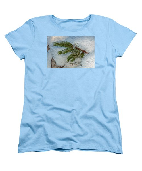 Women's T-Shirt (Standard Cut) featuring the photograph Ice Crystals And Pine Needles by Tikvah's Hope