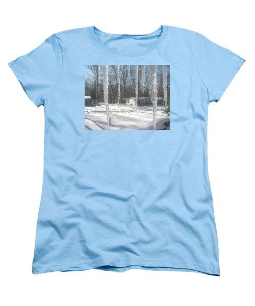 Women's T-Shirt (Standard Cut) featuring the photograph Icicles Through The Window Glass by Pamela Hyde Wilson
