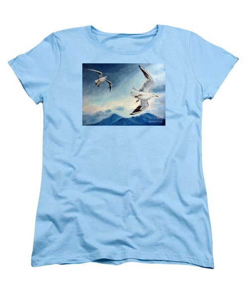 Women's T-Shirt (Standard Cut) featuring the painting In Flight by Julie Brugh Riffey