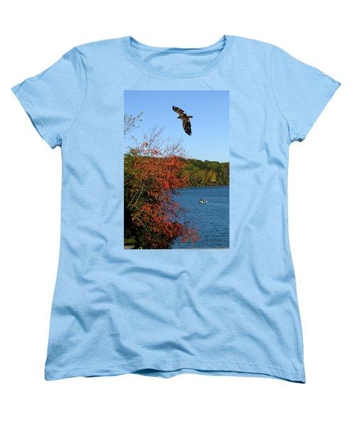 Women's T-Shirt (Standard Cut) featuring the photograph Juvenile And Fishermen by Randall Branham