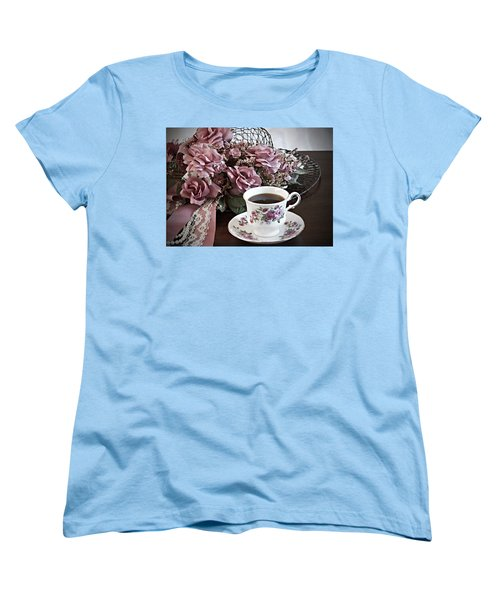 Women's T-Shirt (Standard Cut) featuring the painting Ladies Tea Time by Sherry Hallemeier