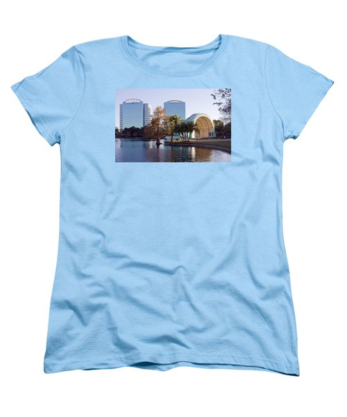 Women's T-Shirt (Standard Cut) featuring the photograph Lake Eola's  Classical Revival Amphitheater by Lynn Palmer