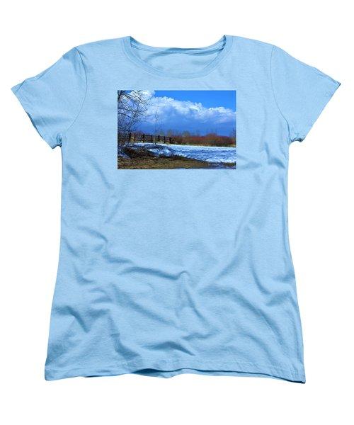 Landscape  Snow Scene Women's T-Shirt (Standard Cut) by Johanna Bruwer