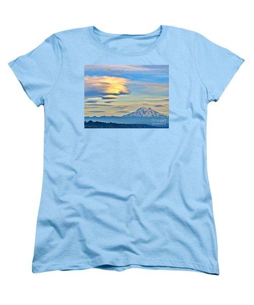 Lenticular Cloud And Mount Rainier Women's T-Shirt (Standard Cut) by Sean Griffin