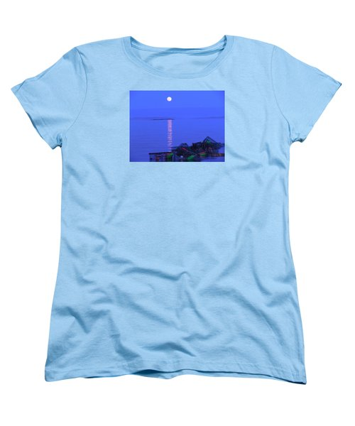 Women's T-Shirt (Standard Cut) featuring the photograph Lobstering Moon by Francine Frank