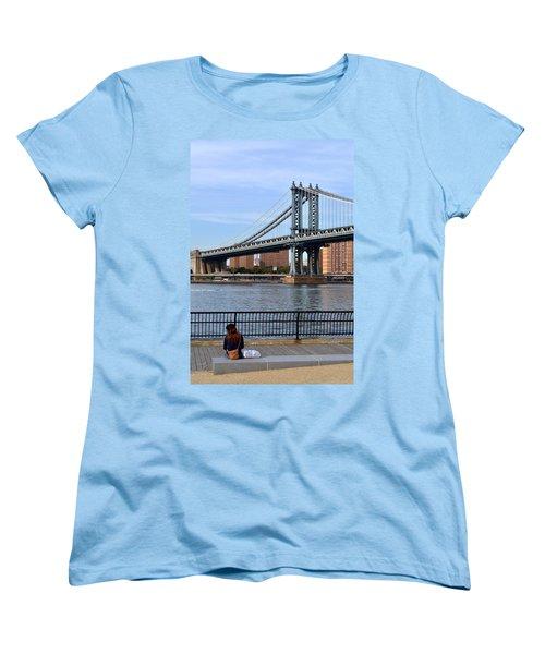 Women's T-Shirt (Standard Cut) featuring the photograph Manhattan Bridge2 by Zawhaus Photography