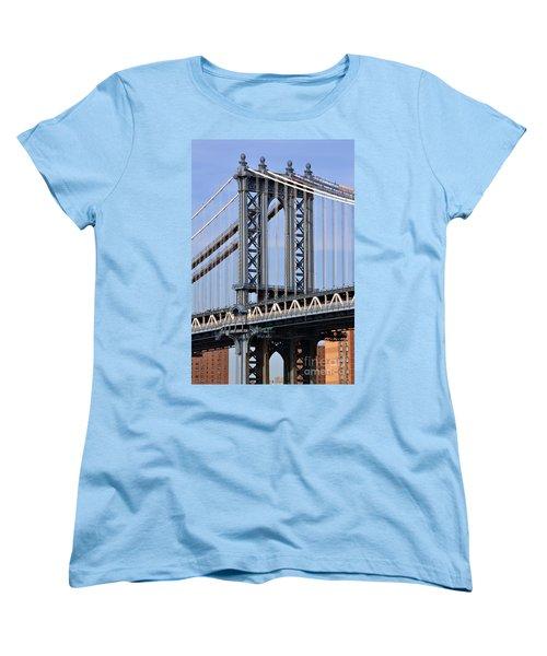 Women's T-Shirt (Standard Cut) featuring the photograph Manhattan Bridge3 by Zawhaus Photography