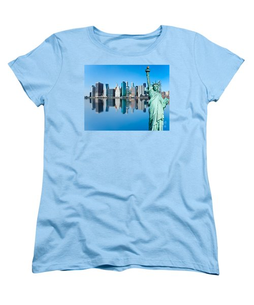 Women's T-Shirt (Standard Cut) featuring the photograph Manhattan Liberty by Luciano Mortula