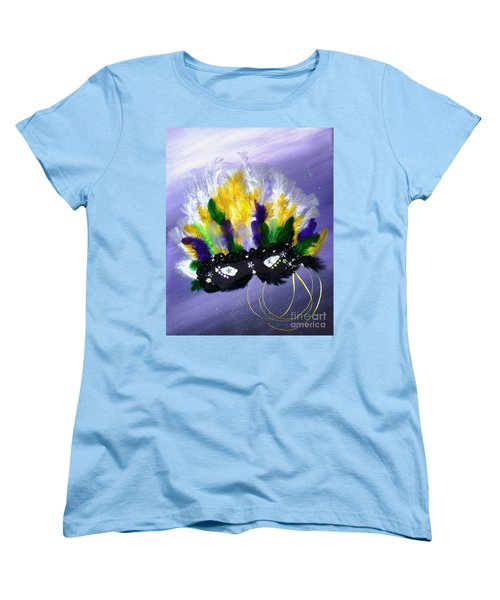 Women's T-Shirt (Standard Cut) featuring the painting Masque Over Bourbon Street by Alys Caviness-Gober
