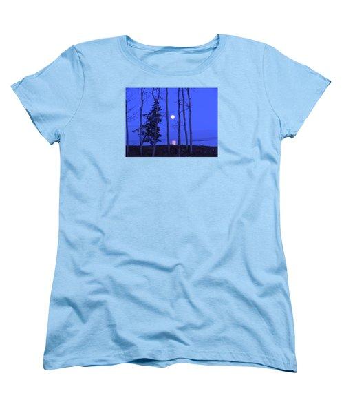 May Moon Through Birches Women's T-Shirt (Standard Cut)
