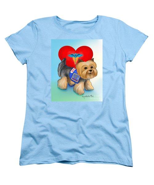 Medical Alert Yorkie Women's T-Shirt (Standard Cut) by Catia Cho