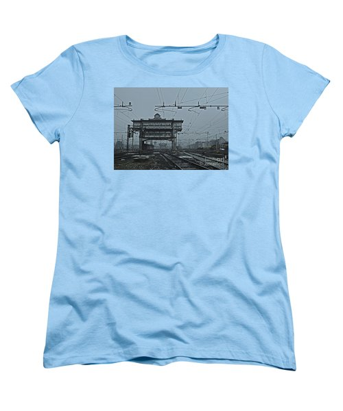 Women's T-Shirt (Standard Cut) featuring the photograph Milan Central Station Italy In The Fog by Andy Prendy