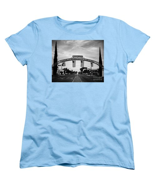 Modesto Arch With Flags Women's T-Shirt (Standard Cut) by Jim and Emily Bush
