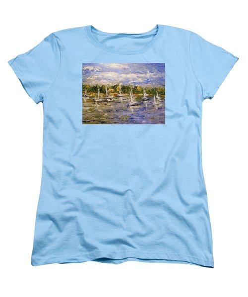 Women's T-Shirt (Standard Cut) featuring the painting Newport Views by Karen  Ferrand Carroll