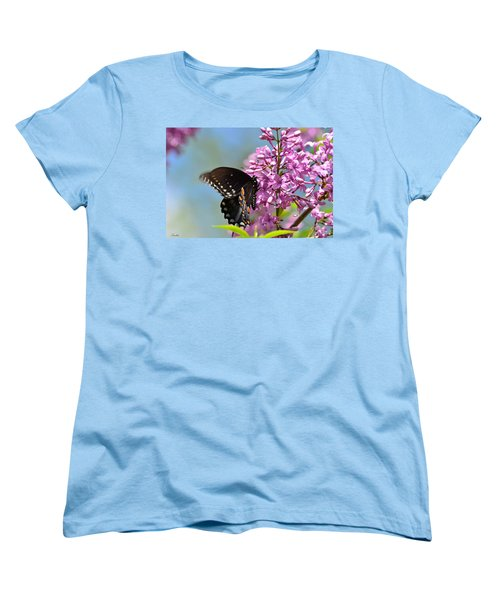 Nothing Says Spring Like Butterflies And Lilacs Women's T-Shirt (Standard Cut) by Lori Tambakis