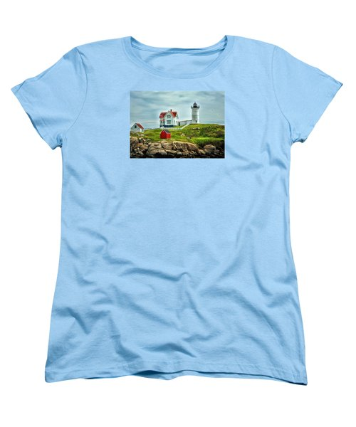 Nubble Lighthouse Women's T-Shirt (Standard Cut) by Tricia Marchlik