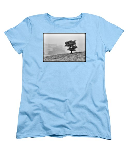 Women's T-Shirt (Standard Cut) featuring the photograph Oak Tree In The Mist. by Clare Bambers
