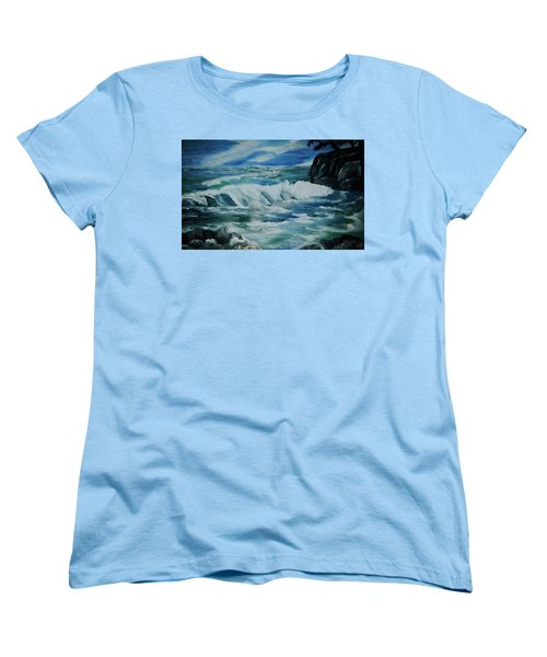 Women's T-Shirt (Standard Cut) featuring the painting Ocean Waves by Christy Saunders Church