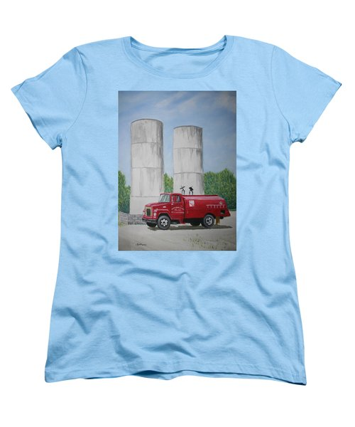 Women's T-Shirt (Standard Cut) featuring the painting Oil Truck by Stacy C Bottoms