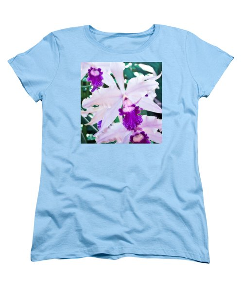 Women's T-Shirt (Standard Cut) featuring the photograph Orchids White And Purple by Steven Sparks