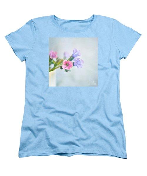 Pale Pink And Purple Pulmonaria Flowers Women's T-Shirt (Standard Cut) by Lyn Randle