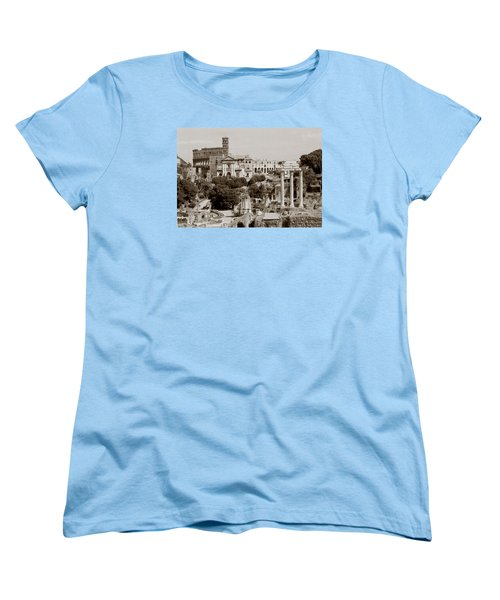 Women's T-Shirt (Standard Cut) featuring the photograph Panoramic View Via Sacra Rome by Tom Wurl