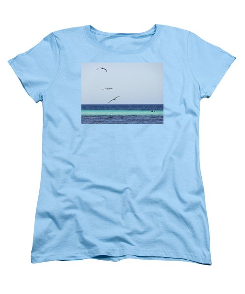 Pelicans In Flight Over Turquoise Blue Water.  Women's T-Shirt (Standard Cut)