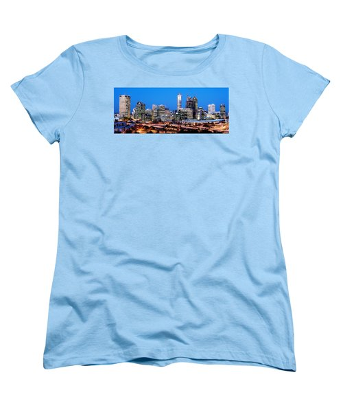 Women's T-Shirt (Standard Cut) featuring the photograph Perth City Night View From Kings Park by Yew Kwang