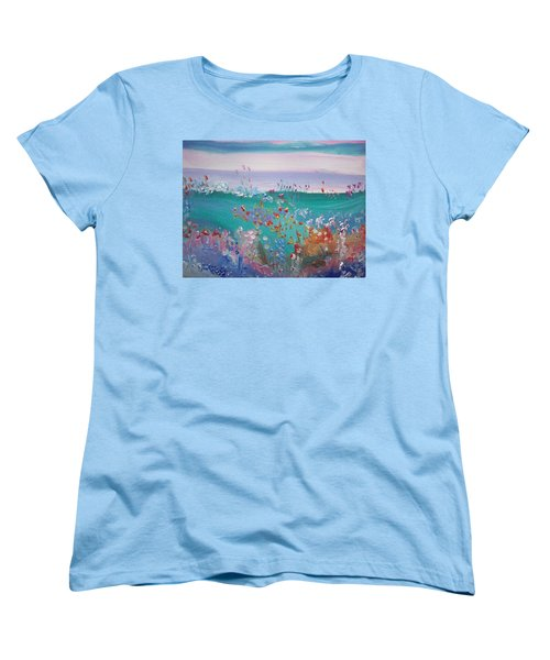 Women's T-Shirt (Standard Cut) featuring the painting Pretty Garden by Judith Desrosiers