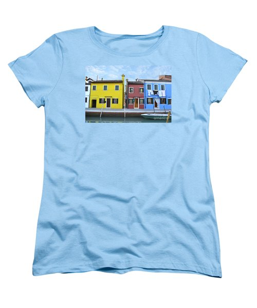 Women's T-Shirt (Standard Cut) featuring the photograph Primary Colors In Burano Italy by Rebecca Margraf