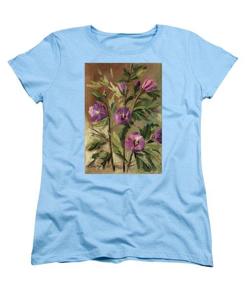 Purple Flowers 2 Women's T-Shirt (Standard Cut) by Rachel Hershkovitz