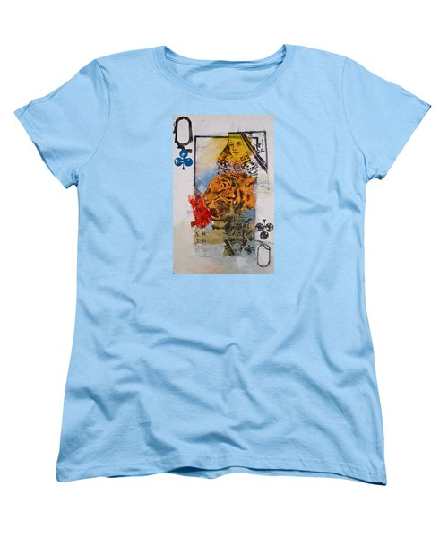 Women's T-Shirt (Standard Cut) featuring the painting Queen Of Clubs 4-52  2nd Series  by Cliff Spohn