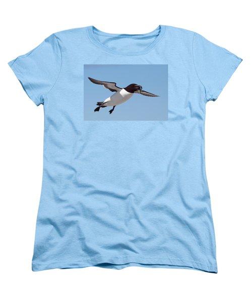 Razorbill In Flight Women's T-Shirt (Standard Cut) by Bruce J Robinson