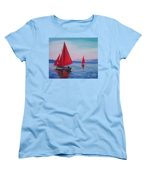 Women's T-Shirt (Standard Cut) featuring the painting Red Sails On Irish Coast by Julie Brugh Riffey
