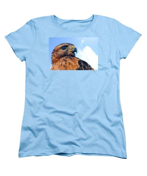 Women's T-Shirt (Standard Cut) featuring the photograph Red Shouldered Hawk Portrait by Dan Friend
