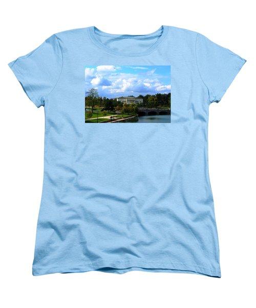 Women's T-Shirt (Standard Cut) featuring the photograph Rose Garden And Hoyt Lake by Michael Frank Jr