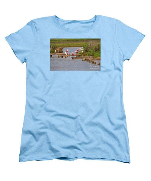 Roseate Spoonbills And Snowy Egrets Women's T-Shirt (Standard Cut) by Louise Heusinkveld