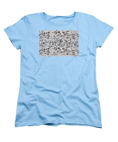 Women's T-Shirt (Standard Cut) featuring the photograph Sandpipers In Flight by Dan Friend