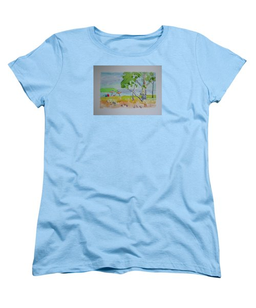 Women's T-Shirt (Standard Cut) featuring the painting Sandpoint Bathers by Francine Frank