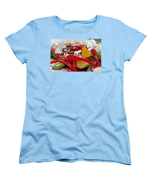 Women's T-Shirt (Standard Cut) featuring the photograph Sauteed Vegetables With Feta Cheese Art Prints by Valerie Garner