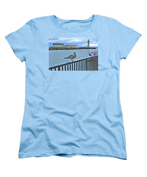 Women's T-Shirt (Standard Cut) featuring the photograph Seagull At Lighthouse by Michael Frank Jr