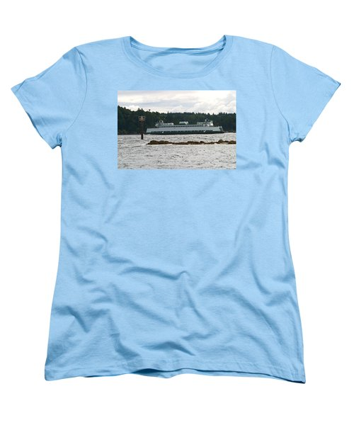 Women's T-Shirt (Standard Cut) featuring the photograph Sealth Ferryboat Rich Passage by Kym Backland