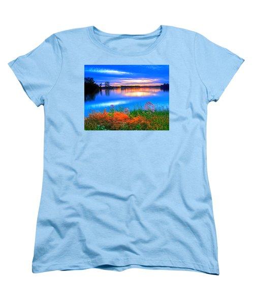 Women's T-Shirt (Standard Cut) featuring the photograph Shoreline Sundown by Randall Branham