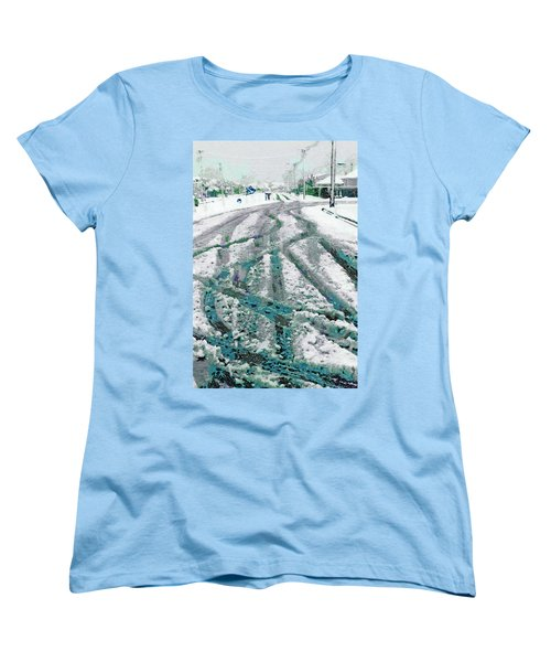Women's T-Shirt (Standard Cut) featuring the photograph Slipping And Sliding  by Steve Taylor